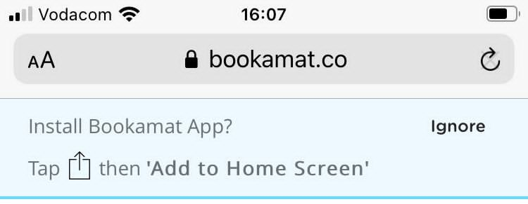 Example of how to install the Bookamat mobile app.
